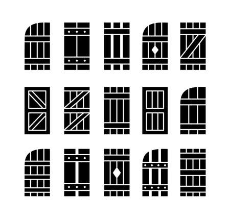 Outdoor rustic window wooden shutters. Flat icon set. Old board window blinds for house and cottage. Exterior decorative elements. Isolated objects on white background