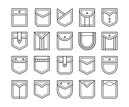 Flat pockets with flap and button closure. Different shapes of shirt and jean patch pockets. Casual garment. Line icon set. Vector illustration. Isolated objects on white background Ilustracja