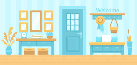 Blue hall interior. Cozy home hallway with door, mirror and modern furniture. House entrance background. Indoor scene. Flat colorful vector illustration. Ilustracja