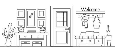 Line sketch of hall interior. Cozy home hallway with door, mirror and modern furniture. House entrance background. Outline black and white vector illustration