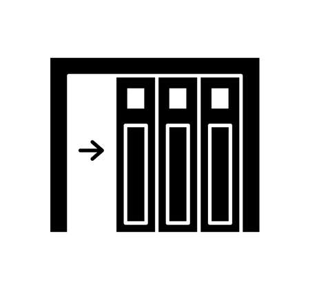 Side sliding sectional garage door. Black & white vector illustration. Flat icon of warehouse gate. Symbol for exterior design element. Isolated object