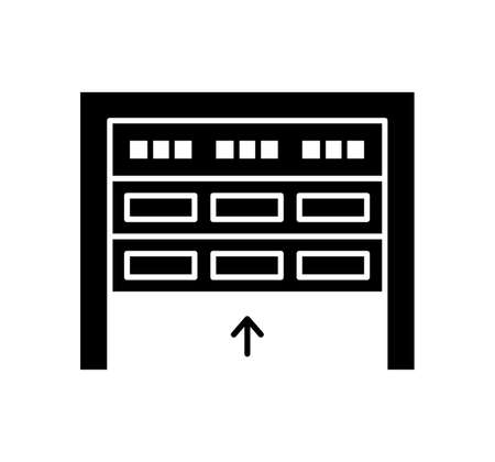 Sectional garage door. Black & white vector illustration. Flat icon of warehouse gate. Symbol for exterior design. Isolated object