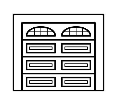 Sectional garage door. Black & white vector illustration. Line icon of warehouse closed gate. Symbol for exterior design element. Isolated object on white background