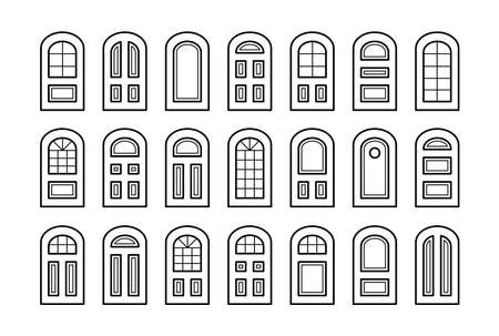 Entry wooden panel and glass doors. Interior and exterior architecture elements. Front and back arch doors. Line icon collection. Isolated objects on white background.