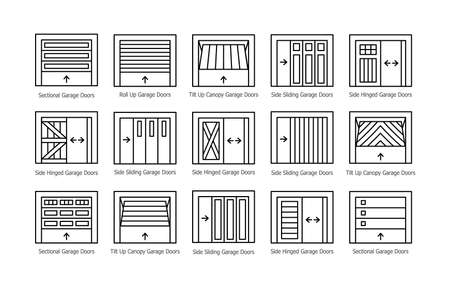 Garage doors half opened. Line icon vector set. Different types of warehouse or workshop gates. Exterior design signs. Isolated objects on white background Ilustracja