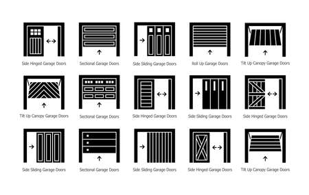 Garage doors half opened. Flat silhouette icon vector set. Different types of warehouse or workshop gates. Exterior design signs. Isolated objects on white background