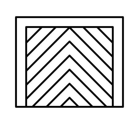Tilt up canopy garage door. Black & white vector illustration. Line icon of closed warehouse gate. Symbol for exterior design element. Isolated object on white background