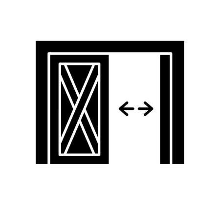 Side hinged vintage garage door. Black & white vector illustration. Flat icon of warehouse gate. Symbol for exterior design element. Isolated object Ilustracja