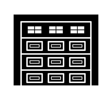 Sectional garage door. Black & white vector illustration. Flat icon of closed warehouse gate. Symbol for exterior design. Isolated object on white background