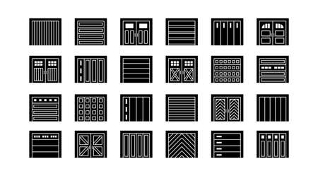 Garage doors closed. Flat icon set. Various types of warehouse or workshop gates. Vector illustration with exterior design signs. Isolated objects on white background