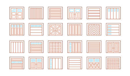Wooden garage doors closed. Line icon set. Various types of warehouse or workshop gates. Vector illustration with exterior design signs. Isolated objects on white background