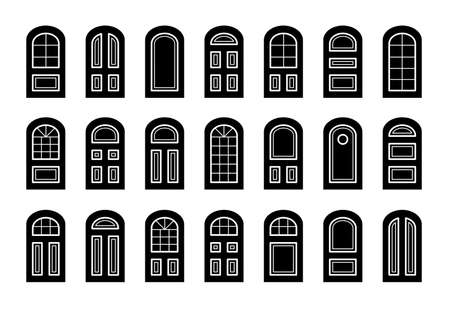 Entry wooden arch doors. Interior and exterior architecture elements. Front and back doors. Flat icon collection. Isolated objects on white background Ilustracja