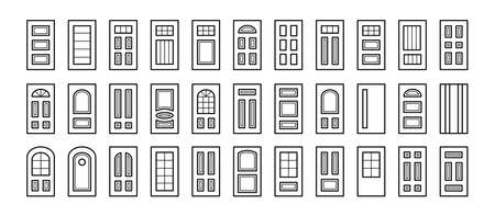 Entry wooden panel and glass doors. Interior and exterior architecture elements. Front and back doors. Line icon collection. Isolated objects on white background.