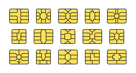 EMV chip. Credit and debit card elements. Vector flat colorful icon set. Smart card golden microchips for terminals and atm. Contactless nfc secure payment technology. Isolated objects on white background