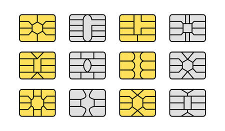 EMV chip. Credit and debit card elements. Vector flat icon set. Smart card golden and silver microchips for terminals and atm. Contactless nfc secure payment technology. Isolated objects on white background