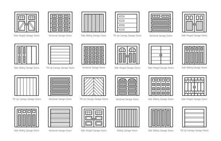 Garage doors closed. Line icon set. Various types of warehouse or workshop gates. Vector illustration with exterior design signs. Isolated objects on white background