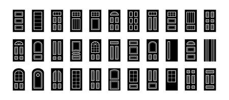 Entry wooden panel and glass doors. Interior and exterior architecture elements. Front and back doors. Flat icon collection. Isolated objects on white background Ilustracja