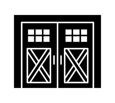 Side hinged vintage garage door. Black & white vector illustration. Flat icon of closed warehouse or barn gate in rustic country style. Symbol for exterior design. Isolated object Ilustracja
