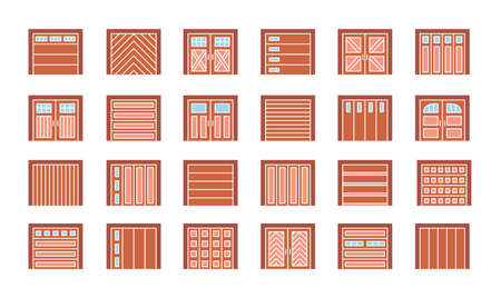 Wooden garage doors closed. Flat icon set. Various types of warehouse or workshop gates. Vector illustration with exterior design signs. Isolated objects on white background