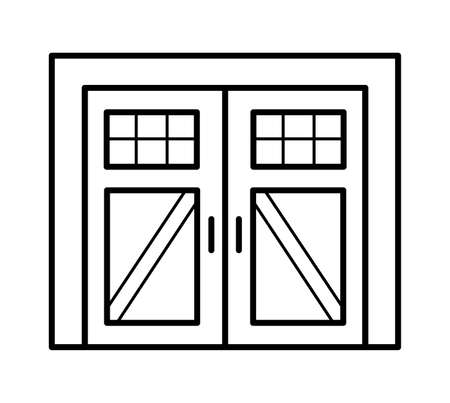 Side hinged vintage garage door in rustic country style. Black & white vector illustration. Line icon of closed warehouse or barn gate. Symbol for exterior design. Isolated object on white background