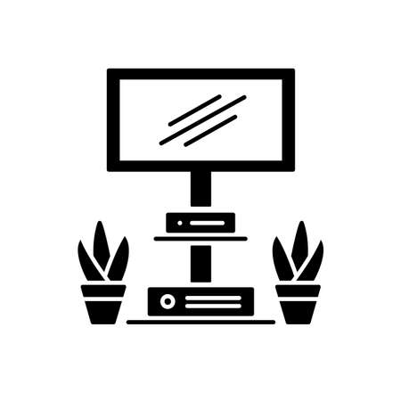 Floor stand for tv display or screen. Black and white vector illustration. Modern media console. Flat icon of living room and office furniture. Isolated object on white background