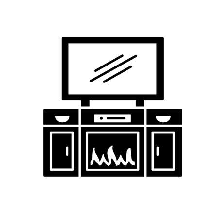 TV stand with electric fireplace. Vector illustration of modern media console. Flat icon of led, flat screen television cabinet with shelves. Living room furniture. Isolated object on white background Ilustracja