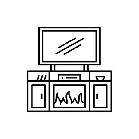 TV stand with electric fireplace. Vector illustration of modern media console. Line icon of led, flat screen television cabinet with shelves. Living room furniture. Isolated object on white background Ilustracja
