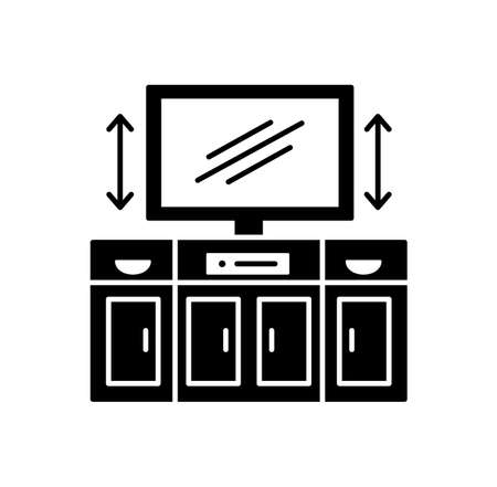 TV stand with automatic lift. Black and white vector illustration. Modern media console. Flat icon of led television cabinet. Symbol of living room furniture. Isolated object on white background
