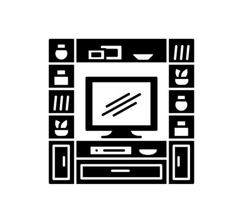 Entertainment center. TV stand with shelves. Vector illustration of modern media console. Flat icon of led screen television cabinet. Living room furniture. Isolated object on white background Ilustracja