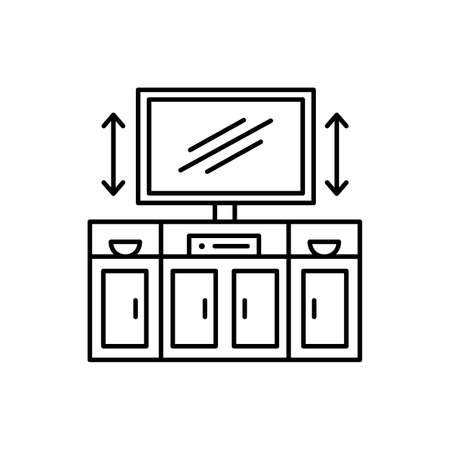 TV stand with automatic lift. Black and white vector illustration. Modern media console. Line icon of led television cabinet. Symbol of living room furniture. Isolated object on white background Ilustracja