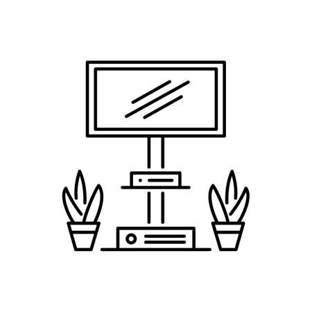 Floor stand mount for tv display or flat screen. Black and white vector illustration. Modern media console. Line icon of living room and office furniture. Isolated object on white background Ilustracja