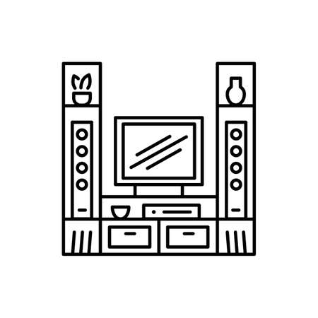 TV stand with audio towers. Entertainment center. Vector illustration. Modern media console. Line icon of led, flat screen television table. Living room furniture. Isolated object on white background