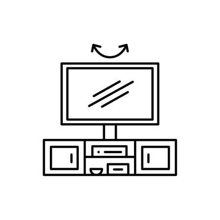 Swivel TV stand. Vector illustration of modern media console. Line icon of led or flat screen television table with rotating mount. Living room furniture. Isolated object on white background