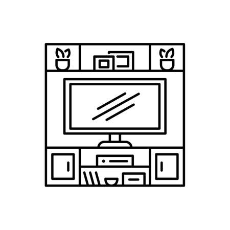 Hutch TV stand. Black and white vector illustration. Modern media console. Line icon of led television cabinet with shelves. Symbol of living room furniture. Isolated object on white background