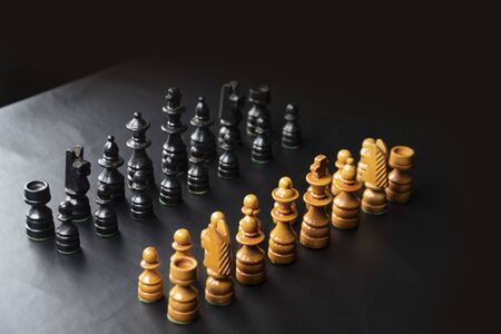 chess pieces mounted on a black surface !!!
