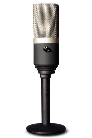 professional condenser microphone on a pedestal isolated with white background, selective focus.