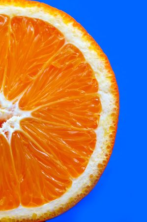 Orange on blue background Stock Photo