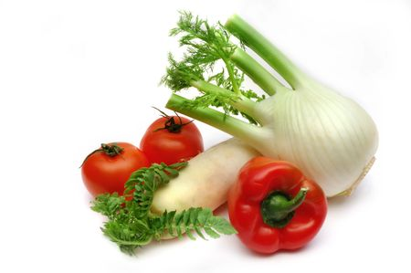 fennel: Fennel, paprika, radish and tomatoes Stock Photo