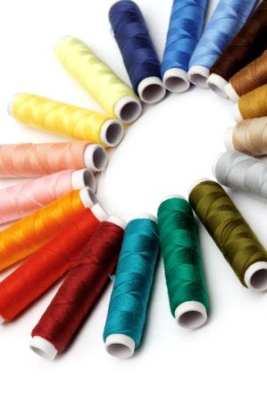 Colorful thread isolated on white background Stock Photo
