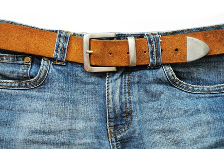 Jeans and leather belt photo