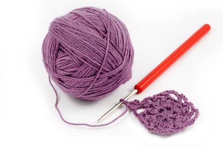 Wool yarn with crochet work photo