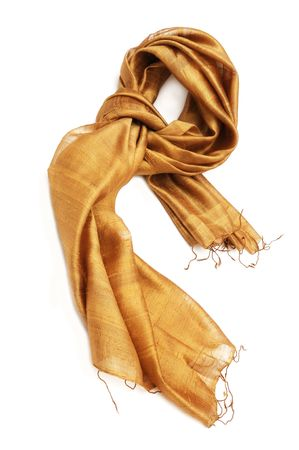 silk thread: Gold scarf Stock Photo