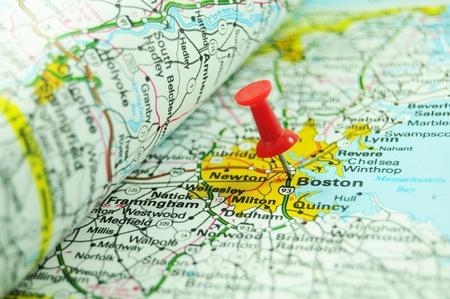 boston cityscape: Boston on map Stock Photo