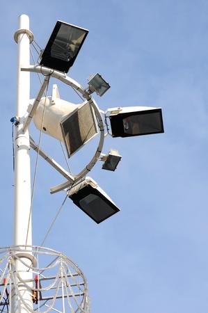 lamp on the pole: Spotlight Stock Photo