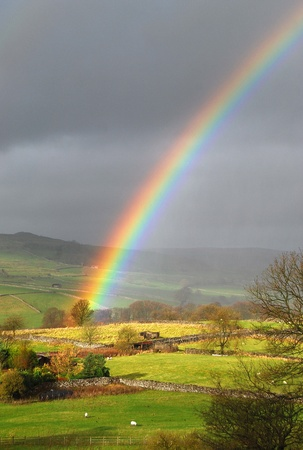 rainy: Rainbow landscape  Stock Photo