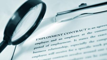 contratos: Contrato de trabajo Foto de archivo