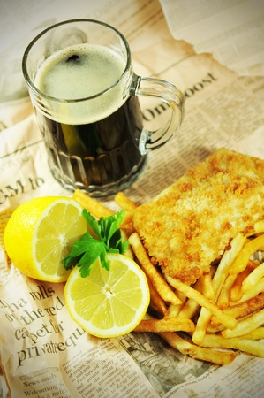 oven potatoes: Fish and chips Stock Photo