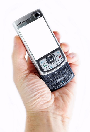 your text: Mobile phone in hand Stock Photo