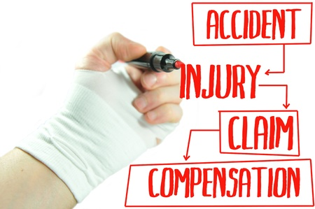 doctor holding gift: Injury claim Stock Photo