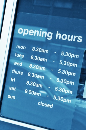 closing time: Opening hours